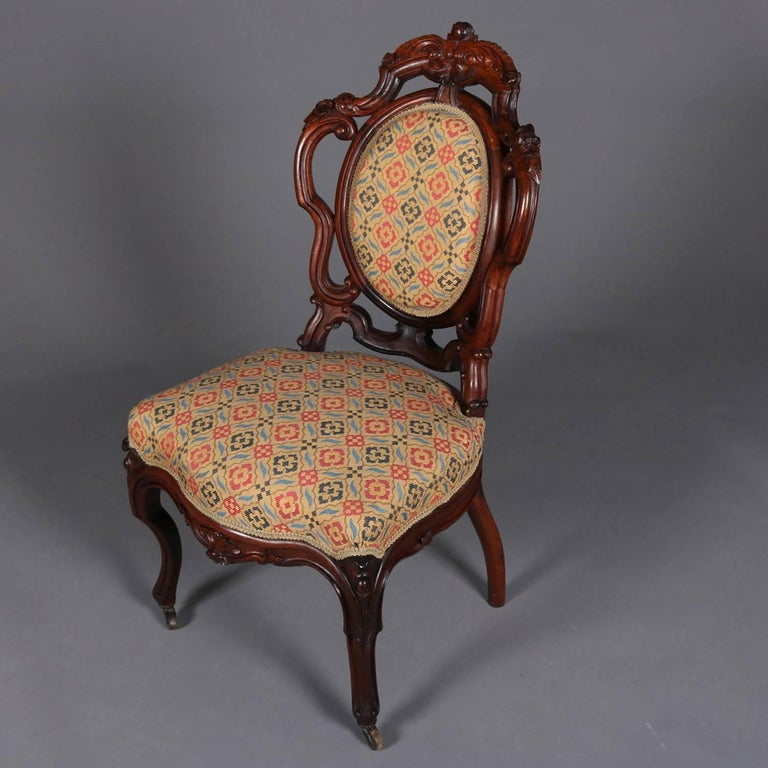 American Pair of Antique Meeks School Victorian Carved Rosewood Side Chairs,  circa 1880 For Sale - Pair Of Antique Meeks School Victorian Carved Rosewood Side Chairs