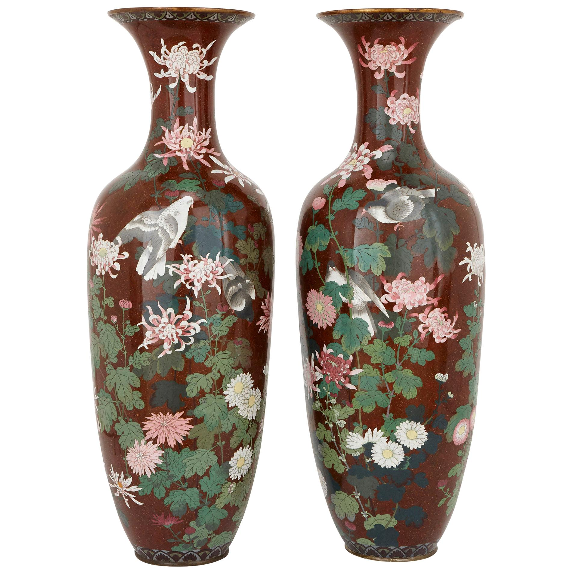 Pair of Antique Meiji Period Japanese Cloisonne Enamel Vases