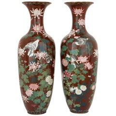 Pair of Antique Meiji Period Japanese Cloisonne Enamel Vases