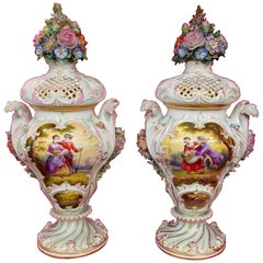 Pair of Antique Meissen Hand-Painted Porcelain Potpourri Urns or Vases