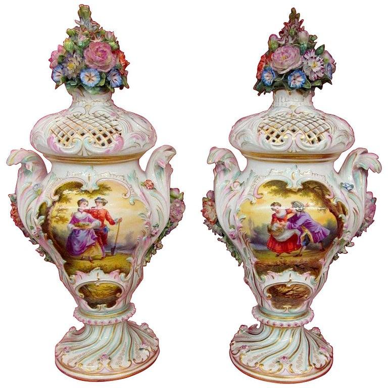 Pair of Antique Meissen Hand-Painted Porcelain Potpourri Urns or Vases For Sale