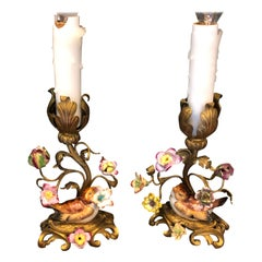 Pair of Antique Meissen Style Candle Prick Small Table Lamps with Love Birds