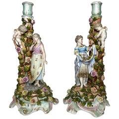 Pair of Antique Meissen Style Porcelain Candlesticks, circa 1830-1850
