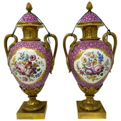 """Pair of Antique Mid-19th Century French Sèvres """"Rare Dubarry Rose"""" Urns"""