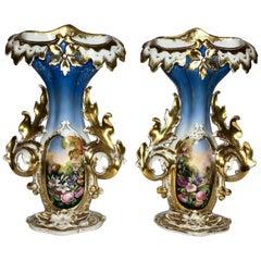 Pair of Antique Mid-19th Century Old Paris Vases