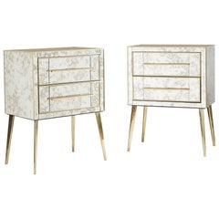 Pair of Antique Mirror and Brass Chest-of-Drawers/Bedsides