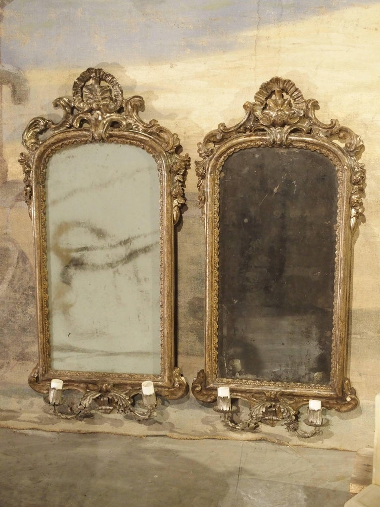 Pair Of Antique Mirror Wall Sconces From Italy Circa 1740