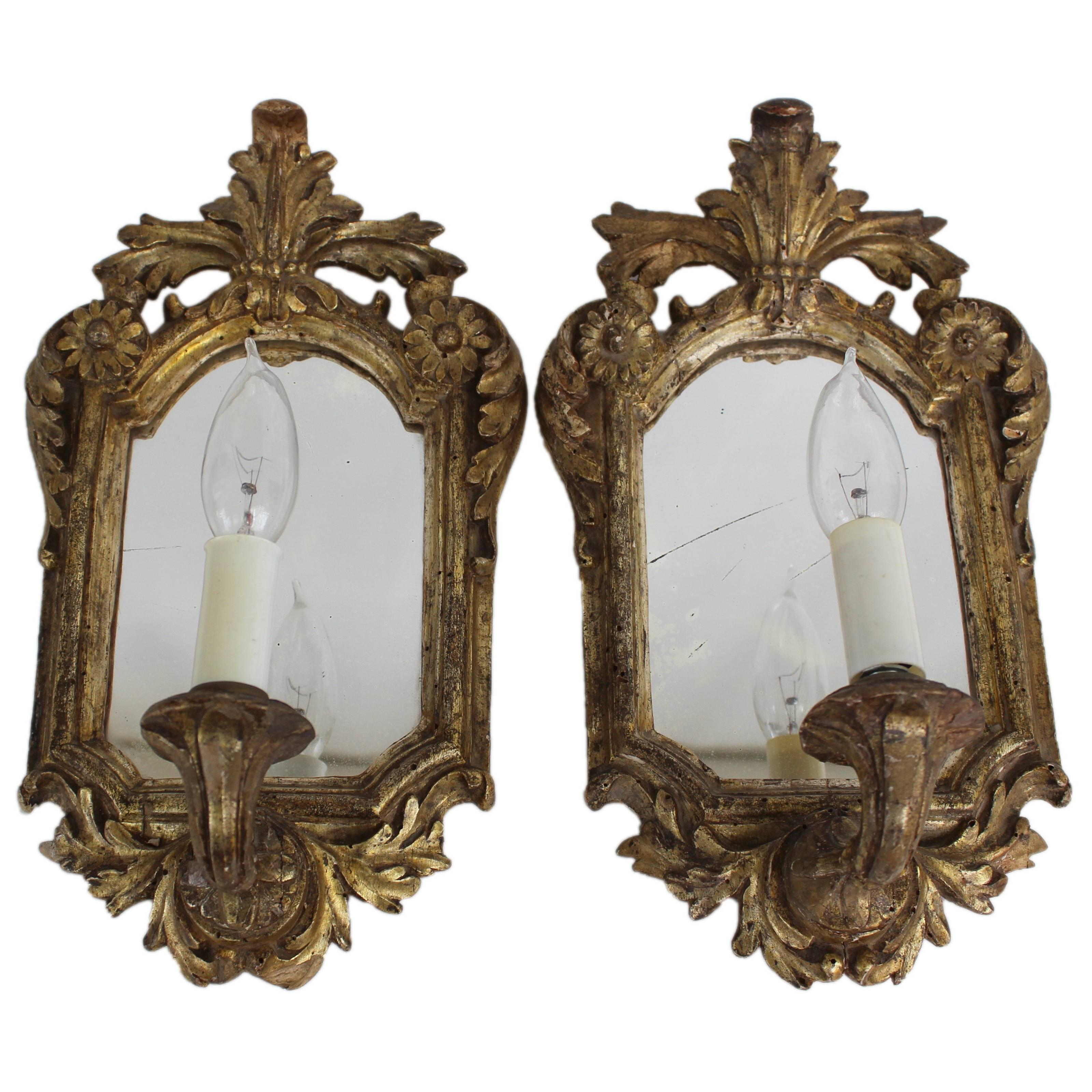 Pair of Antique Mirrored and Electrified Giltwood Sconces