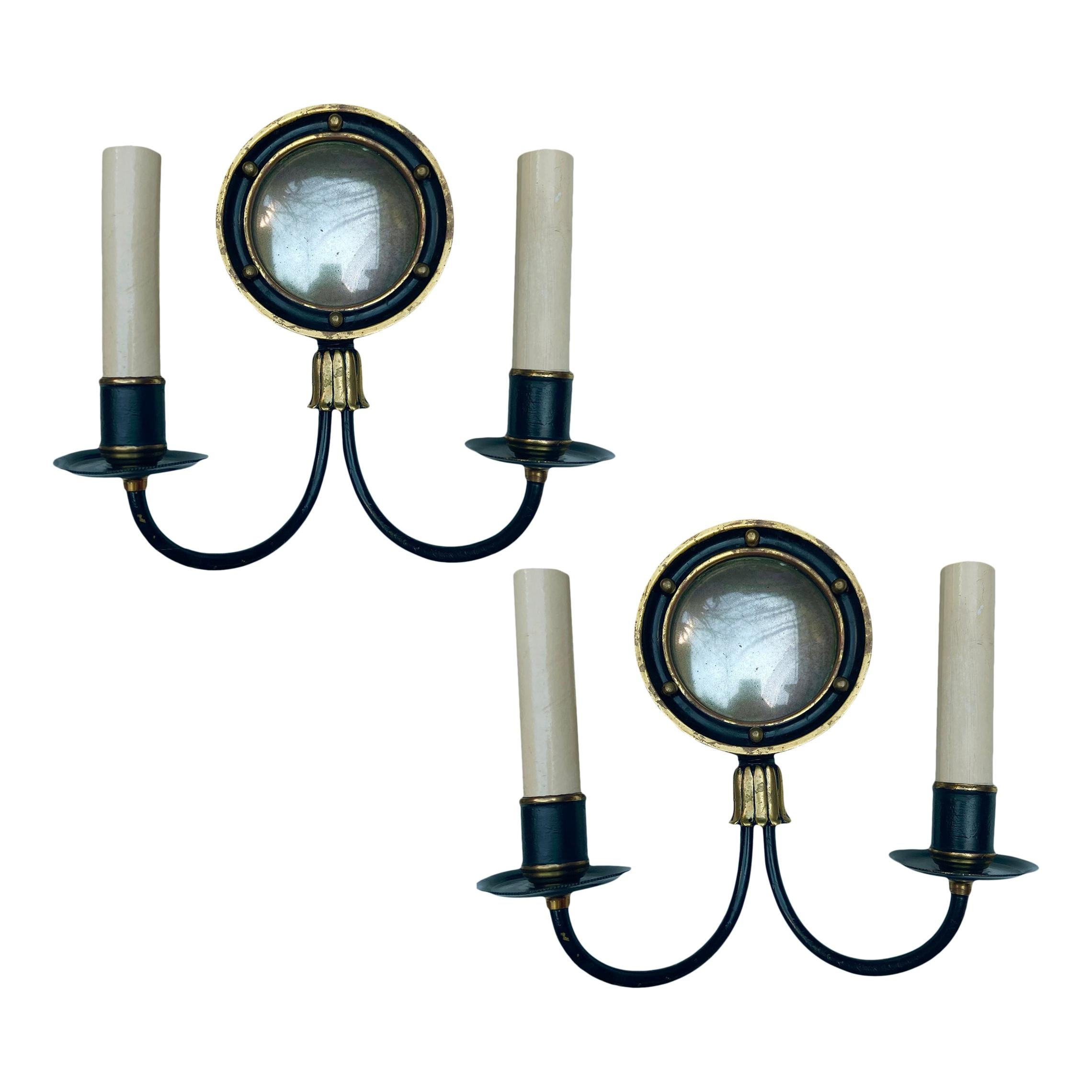 Pair of Antique Mirrored Sconces
