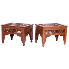 Pair of Antique Moroccan Inlaid Stands
