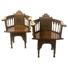 Pair of Antique Moroccan or Syrian Barrel Back Armchairs