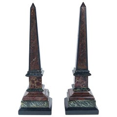 Pair of Antique Multicolored Marble, Slate and Faux Marble Obelisks