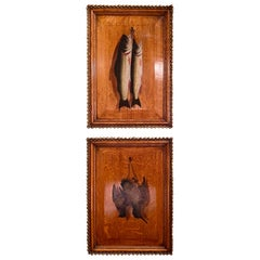"""Pair of Antique """"Natur Mort"""" Paintings on Wood Panels with Carved Frames"""