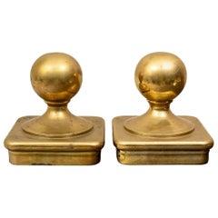 Pair of Antique Nautical Brass Bollards