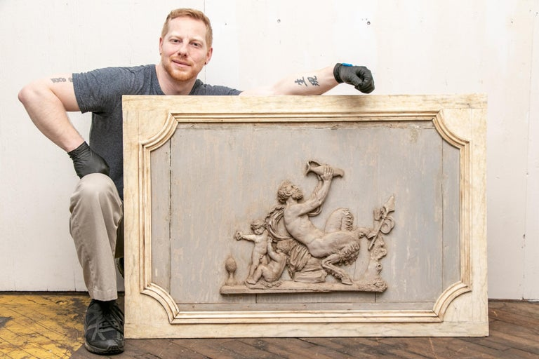 Pair of Antique Neoclassical Carved Plaques In Good Condition For Sale In Bridgeport, CT