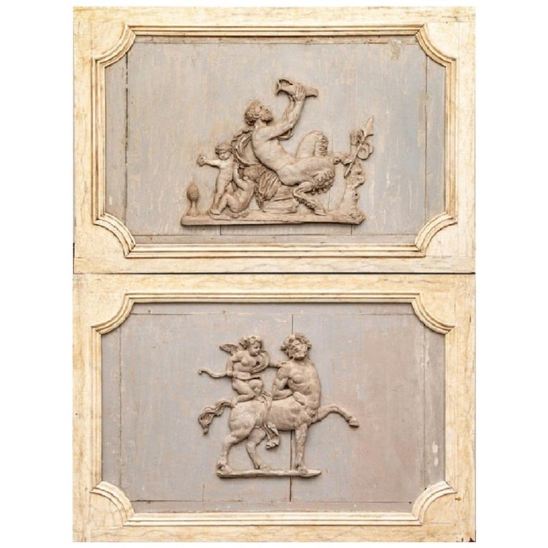Pair of Antique Neoclassical Carved Plaques For Sale