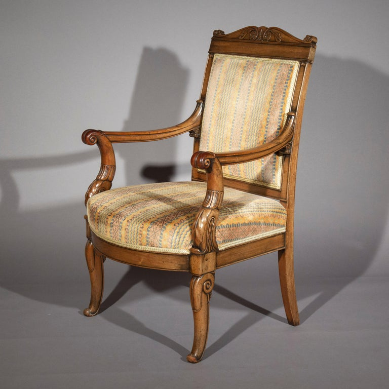 French Pair of Antique Neoclassical Mahogany Armchairs, Mid-19th Century For Sale