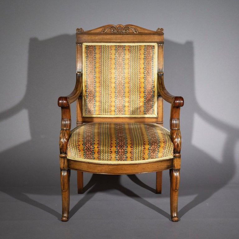 Pair of Antique Neoclassical Mahogany Armchairs, Mid-19th Century In Good Condition For Sale In London, GB