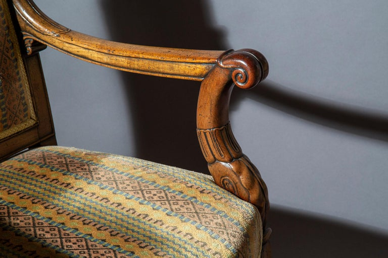 Pair of Antique Neoclassical Mahogany Armchairs, Mid-19th Century For Sale 2