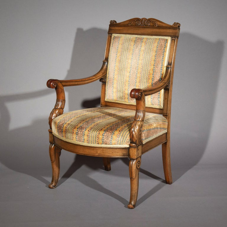 Pair of Antique Neoclassical Mahogany Armchairs, Mid-19th Century For Sale 3