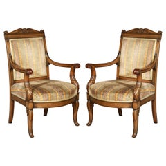 Pair of Antique Neoclassical Mahogany Armchairs, Mid-19th Century
