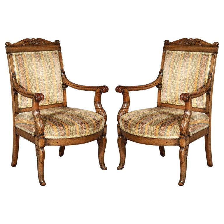 Pair of Antique Neoclassical Mahogany Armchairs, Mid-19th Century For Sale