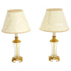 Pair of Antique Neoclassical Style Glass and Brass Table Lamps
