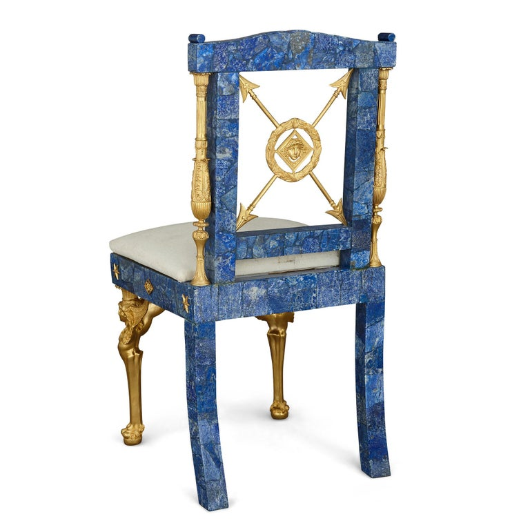 Empire Pair of Neoclassical Style Lapis Lazuli and Gilt Bronze Chairs For Sale