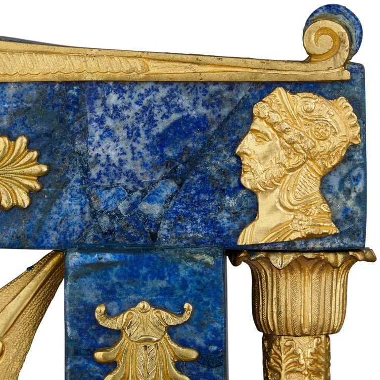 20th Century Pair of Neoclassical Style Lapis Lazuli and Gilt Bronze Chairs For Sale