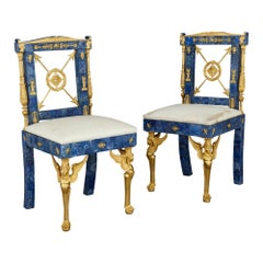 Pair of Neoclassical Style Lapis Lazuli and Gilt Bronze Chairs