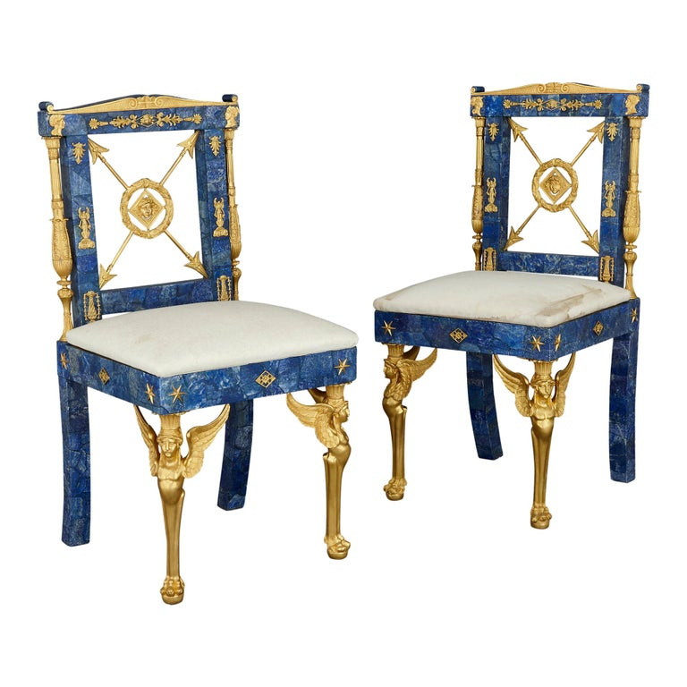 Pair of Neoclassical Style Lapis Lazuli and Gilt Bronze Chairs For Sale
