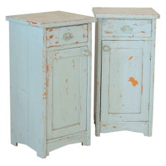 Pair of Antique Nightstands, Original Blue Paint