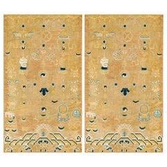 Pair of Antique Ningxia Pillar Rug