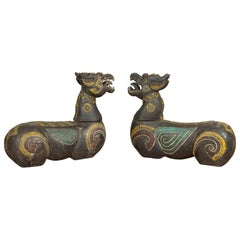 Pair of Antique Northern Thai Carved and Polychrome Mythical Guardian Animals