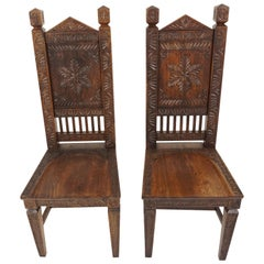 Pair of Antique Oak Chairs, Heavily Carved Hall Chairs, Scotland 1890, B1807