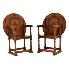 Pair of Antique Oak Monks Bench Armchairs / Tables