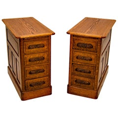 Pair of Antique Oak Nightstands, Cabinets, or Office Storage Cabinets