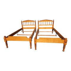 Pair of Antique American Maple Twin Beds