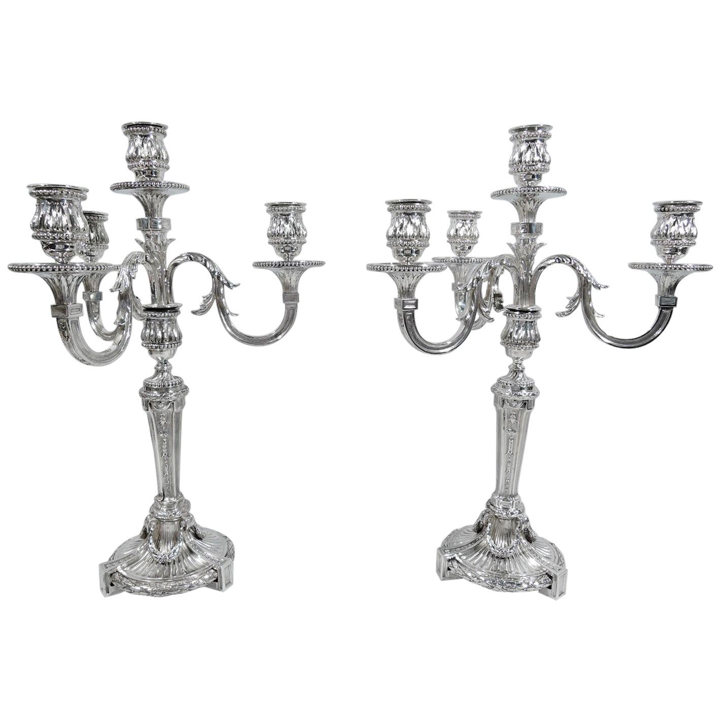 Pair of Antique Odiot French Neoclassical Silver 4-Light Candelabra