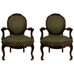 Pair of Antique Old Louisiana Rosewood Armchairs, circa 1840-1860