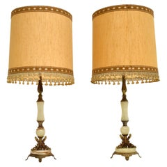 Pair of Antique Onyx & Brass Table Lamps
