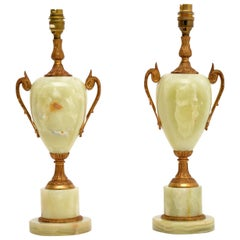 Pair of Antique Onyx Table Lamps