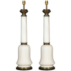 Pair of Antique Opaline Glass Table Lamps, 19th Century