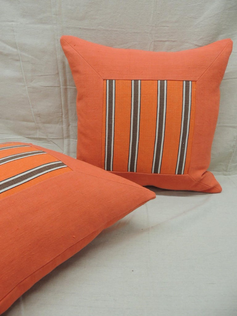 French Provincial Pair of Antique Orange Stripes Square Decorative Pillows For Sale