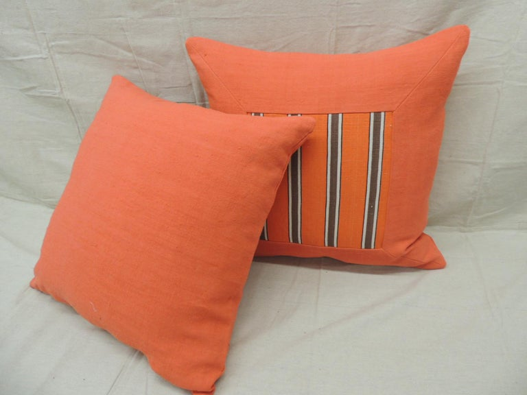 Belgian Pair of Antique Orange Stripes Square Decorative Pillows For Sale