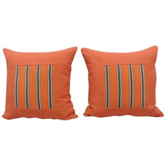 Pair of Antique Orange Stripes Square Decorative Pillows