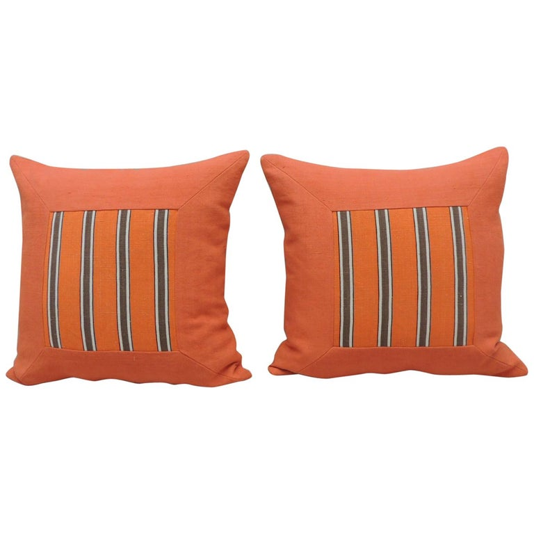 Pair of Antique Orange Stripes Square Decorative Pillows For Sale