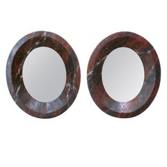 Pair of Antique Oval French Mirrors