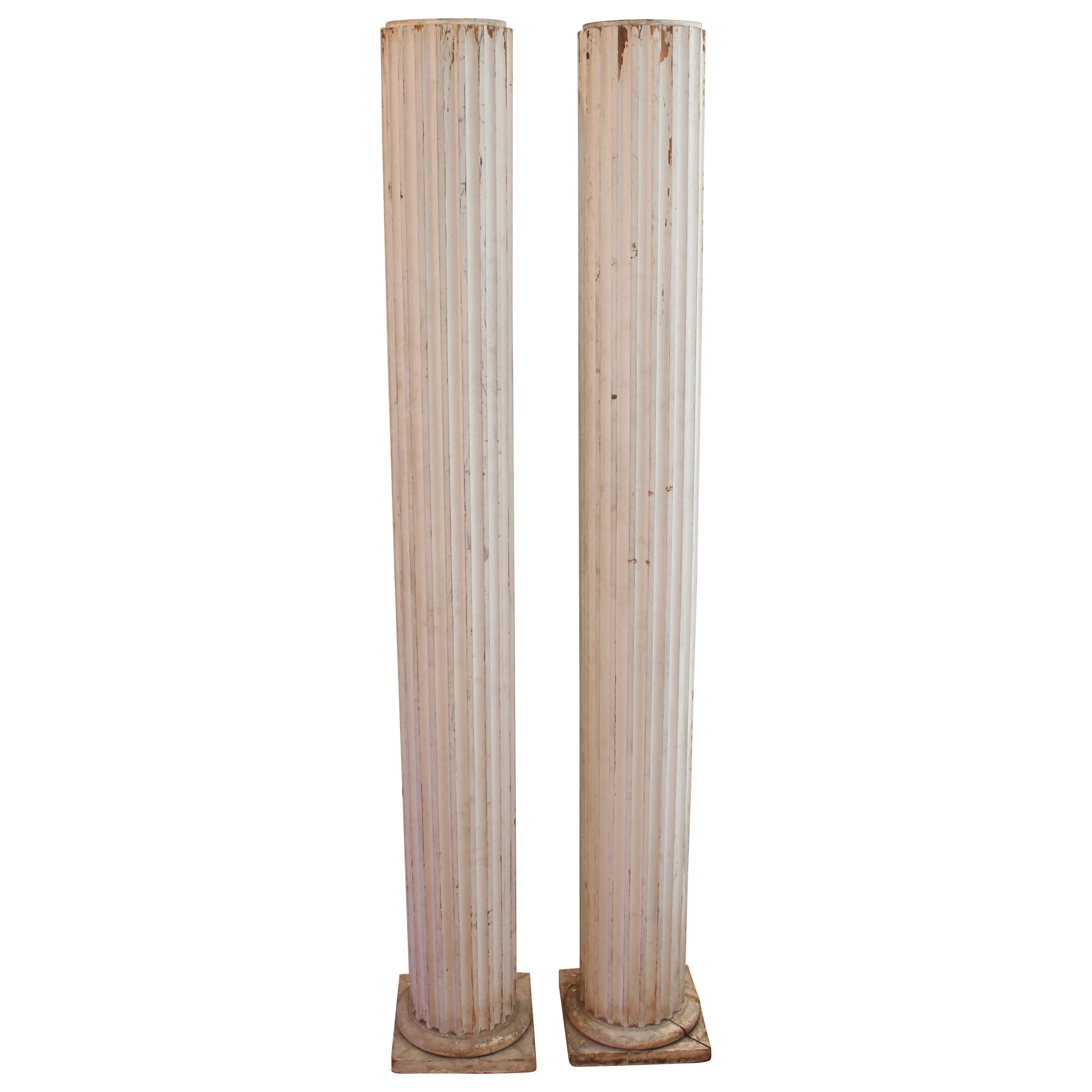 Pair of Antique Painted Columns