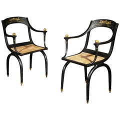 Pair of Antique Painted Curule Armchairs in the style of Jean-Joseph Chapuis